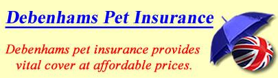 Logo of Debenhams Pet insurance UK, Debenhams pet insurance quotes, Debenhams pet cover UK